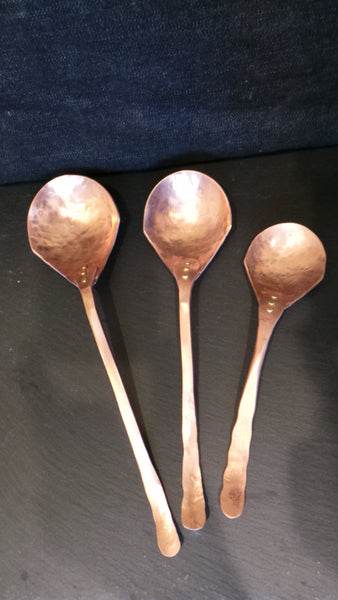Solid Copper flat handle set of 3 spoons