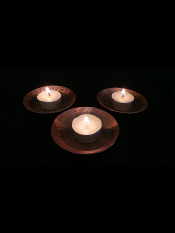 set of 3 copper tea light holders