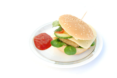 dulse burger seaweed recipe - burger with ketchup