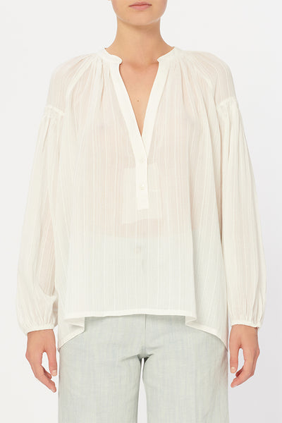 PREORDER Nipoa Blouse in White and Mauve by Vanessa Bruno