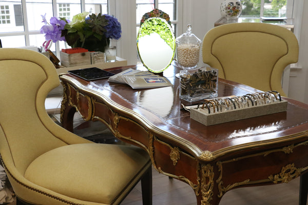 Louis XV Style Bronze Leather Desk