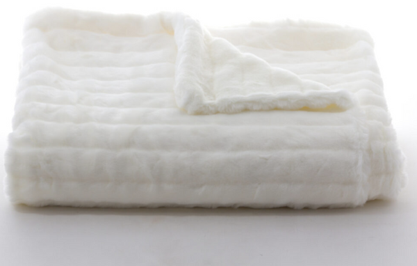 White Faux Fur Blanket by Tourance