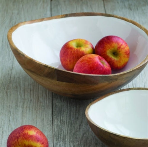 Mango Wood & White Enamel Bowl in Extra Large & Large by Be Home - The Perfect Provenance