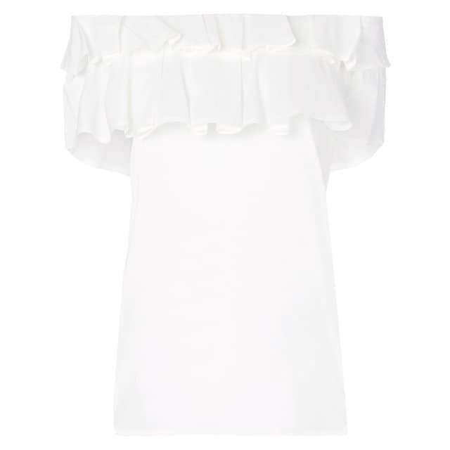 Ruffle Off The Shoulder White Top by Blumarine - The Perfect Provenance