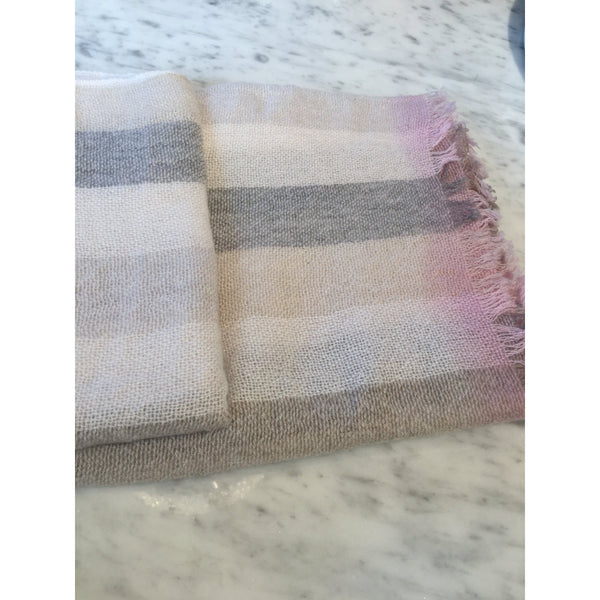Beige & Pink Striped Gauze Scarf by Tessile Officina-