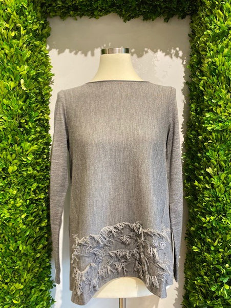 Grey Fringe Long Sleeve Sweater by YC Milano