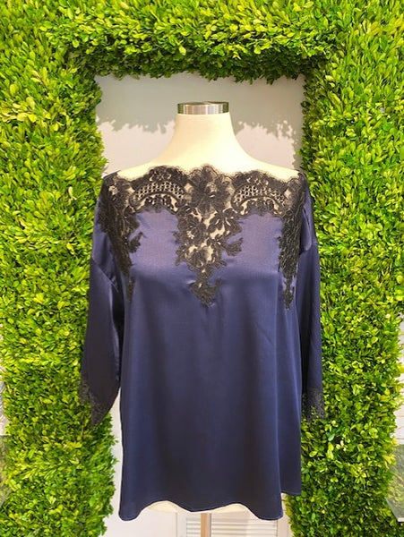 Blue Silk Blouse with Black Laced Detailing by Blumarine - The Perfect Provenance