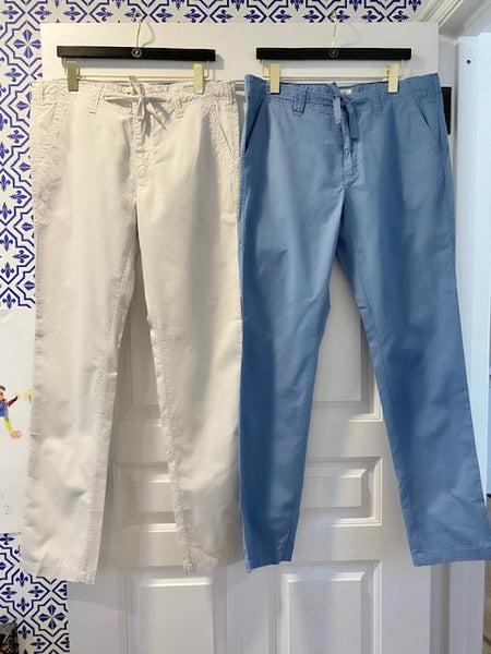 Pure Cotton Troy Drawstring Pants in Blue or Beige By Hartford - The Perfect Provenance