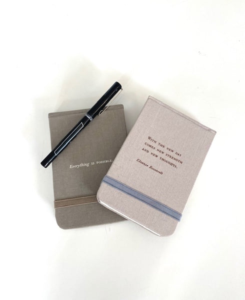 Fabric Notebook with Two Inspirational Quotes by Sugarboo in Two Colors