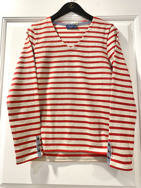 Moissey Red Stripe Sweater by Saint James