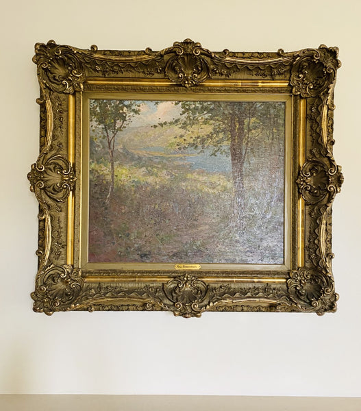 Framed Impressionist Landscape Oil by Hal Robinson On Canvas 1900's - The Perfect Provenance