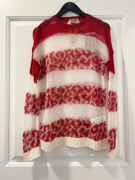 Red & White Leopard Knit Sweater by No. 21
