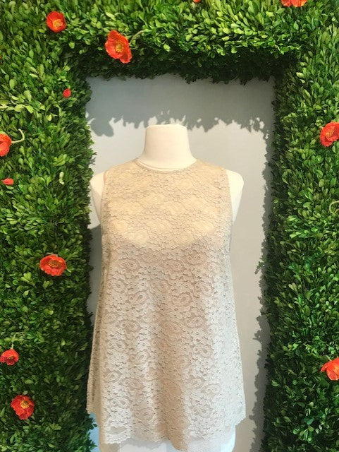 Beige Floral Lace Sleeveless Top By Twin-set