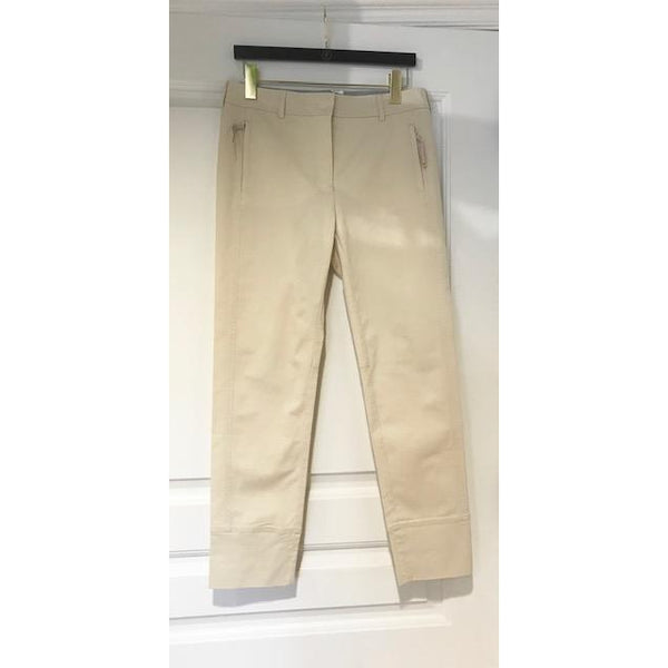 Tailored Pants with Zippered Pockets in White or Beige by Tonet