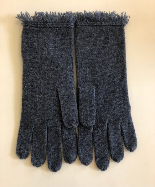 Navy Fringe Gloves by Repeat Cashmere