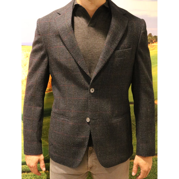 Plaid Navy Sport Coat by Paul Taylor