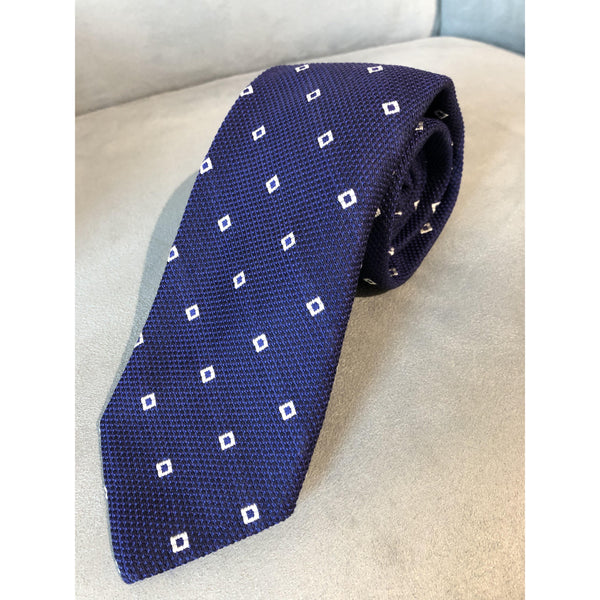 Best of Class Navy, White Square Patterned Tie by Robert Talbott