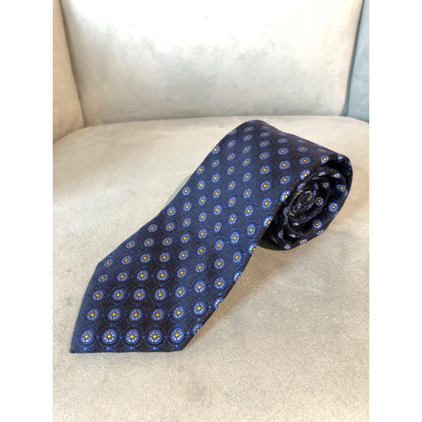 Best of Class Navy, Light Blue/Yellow Flowers Tie by Robert Talbott - The Perfect Provenance