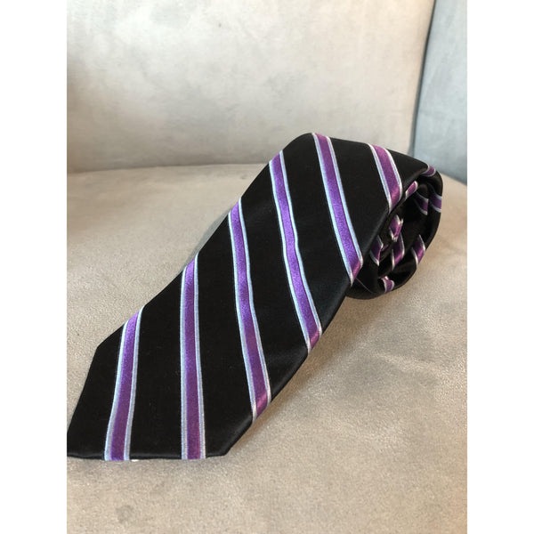 Best of Class Black, Two-Toned Purple Stripes Tie by Robert Talbott