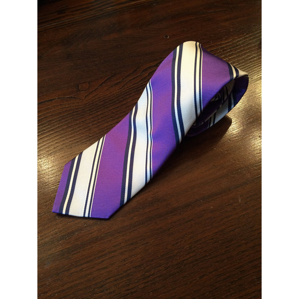 Best of Class Classic Purple, White, Navy Striped Tie by Robert Talbott - The Perfect Provenance