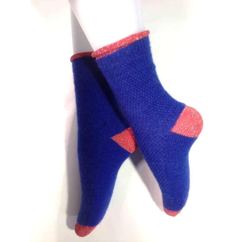 Mohair Alpaca Sock in Blue/ Pink by Nicolas Messina