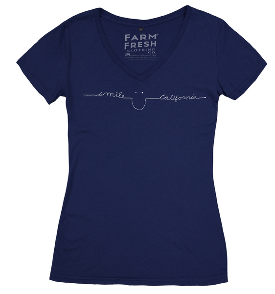 Women's Smile California Cotton V-Neck in Navy Blue