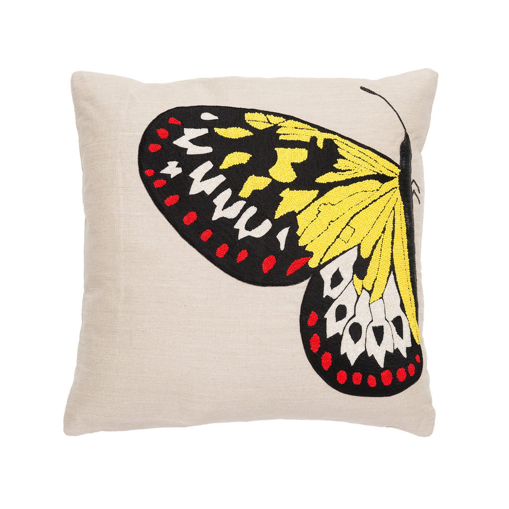 Colorful Side Butterfly Linen Pillow by Aandaz