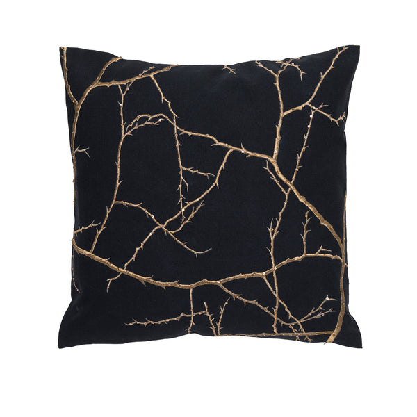 Black/ Antique Branches Linen Pillow by Aandaz - The Perfect Provenance