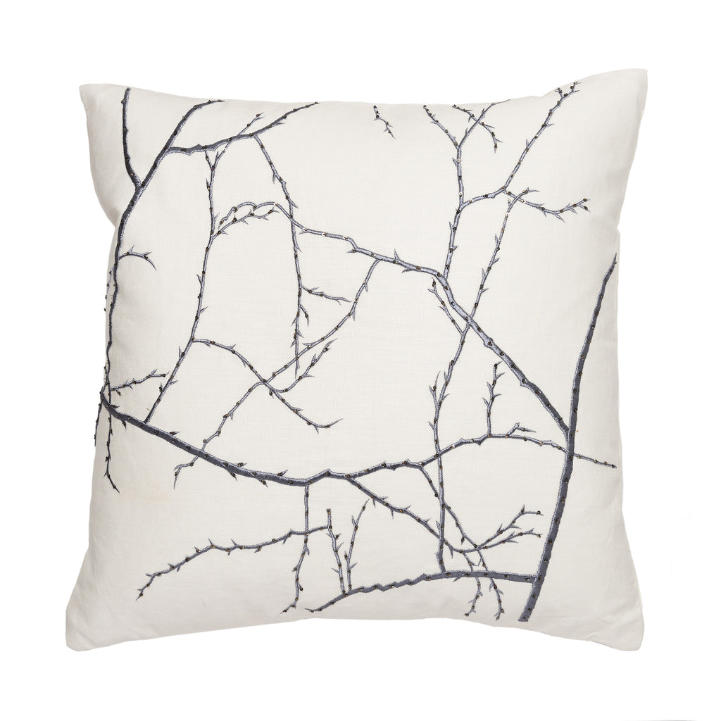 Ivory/ Gun Metal Branches Pillow by Aandaz