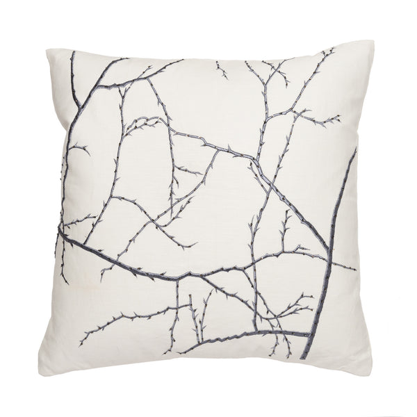 Ivory/ Gun Metal Branches Pillow