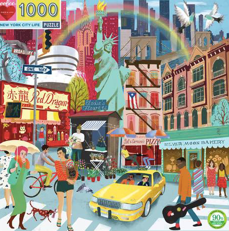 New York City Life - 1000pc Square Jigsaw Puzzle by eeBoo