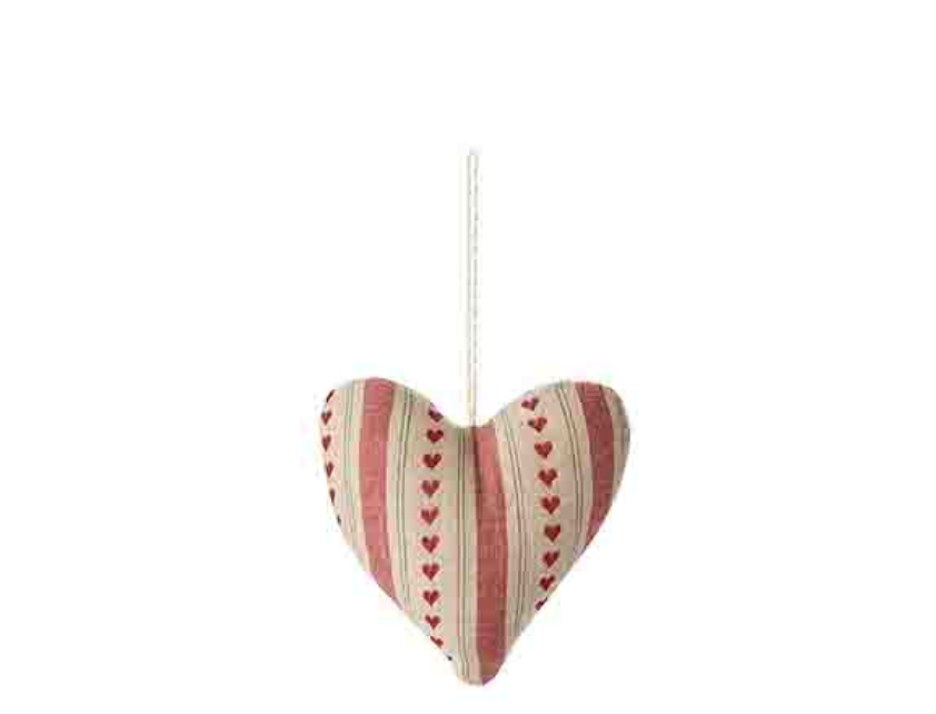 Cotton Heart With Vertical Stripes And Red Small Hearts - The Perfect Provenance