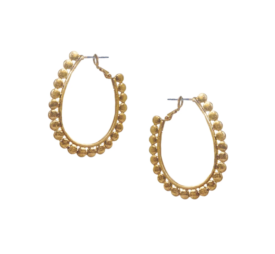 Large Oval Circle Hoops in Gold or Silver Finish by Marlyn Schiff