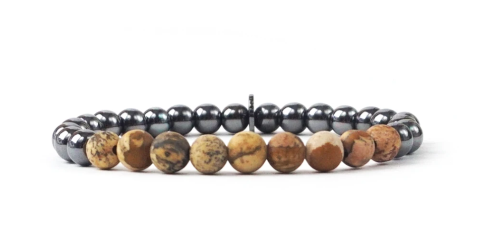 Metal and Natural Stone Bead Bracelet in Multiple Colors by Marlyn Schiff