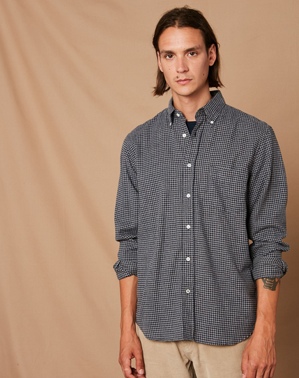 Navy Check Shirt by Hartford