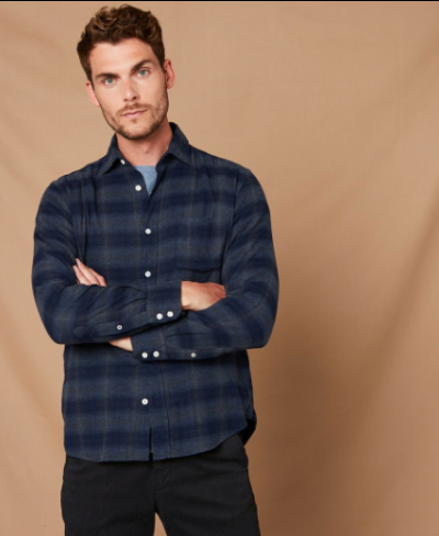 Navy Plaid Flannel by Hartford