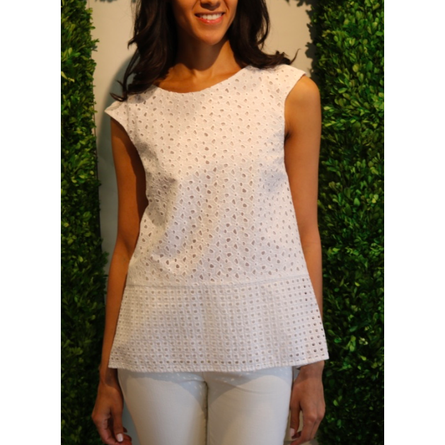 White Eyelete Sleeveless Blouse by Blugirl - The Perfect Provenance