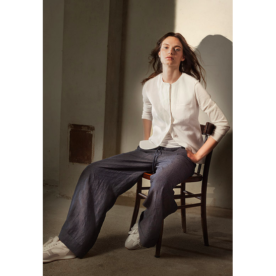 Grey Wide Legged Linen Palazzo Trouser in Two Shades by Tonet - The Perfect Provenance