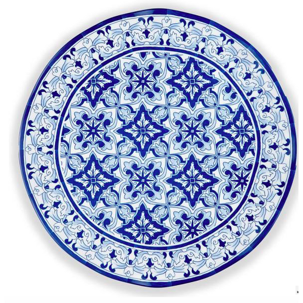 Talavera Azul Round Blue Serving Platter by QSquared - The Perfect Provenance
