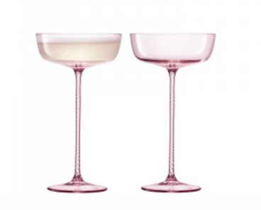 Theatre Pink Champagne Saucers Set of 2 by LSA - The Perfect Provenance