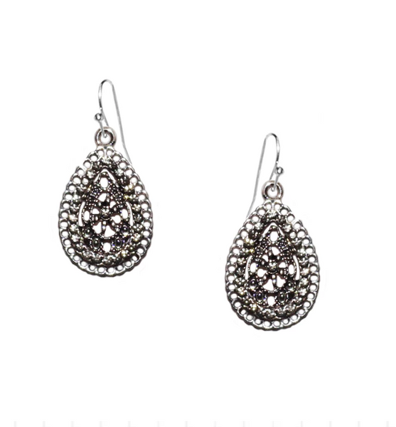 Tear Drop Crystal Earrings by Marlyn Schiff