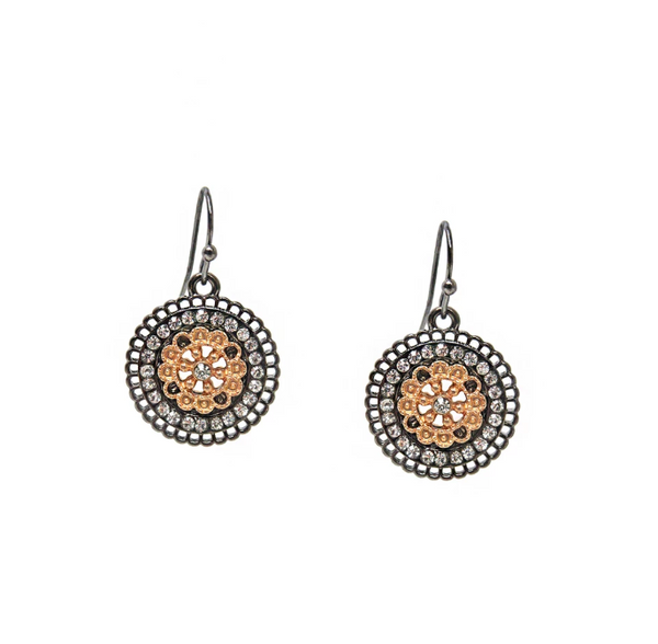 Rounded Drop Crystal Earrings by Marlyn Schiff