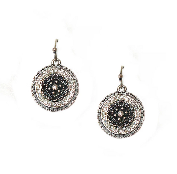Rounded Drop Crystal Earrings in Three Colors by Marlyn Schiff