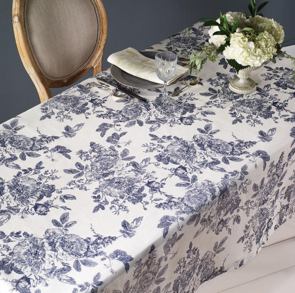 French Garden Tablecloth  by Bodrum in Black or Navy - The Perfect Provenance