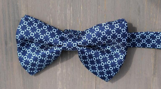 Navy Pattern Silk Bowtie by Marzullo - The Perfect Provenance