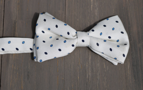 White With Blue Dots Silk Bowtie by Marzullo - The Perfect Provenance