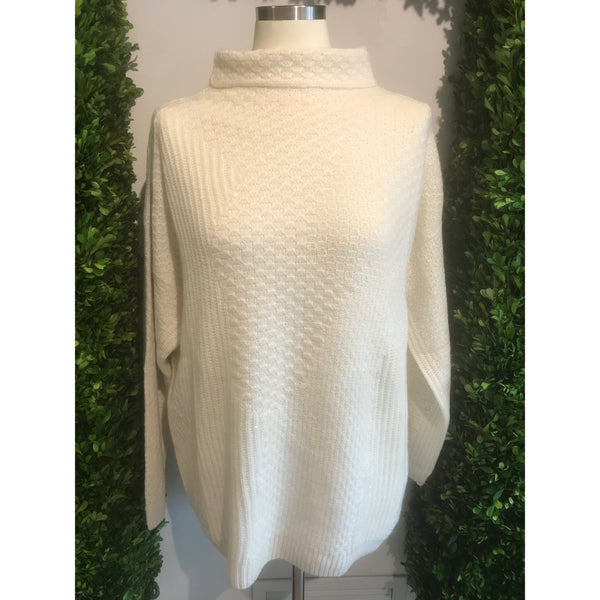 White Sparkle Cowl Neck Sweater By Tonet