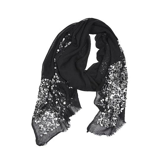 Black Silk Wool Blend Scarf with Sequins