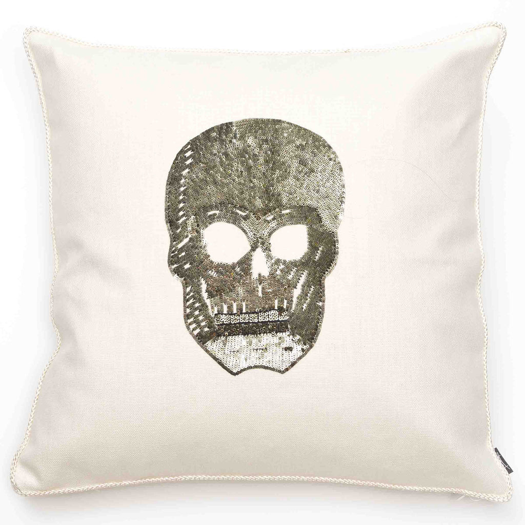 Sequined Skull Pillow in Silver/ Ivory Cotton