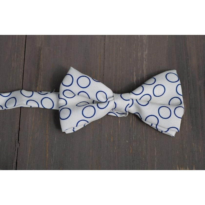 White With Blue Circles Silk Bowties by Marzullo - The Perfect Provenance